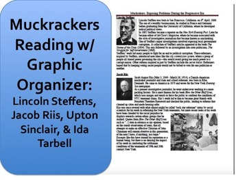 Muckrakers Reading Graphic Organizer Progressive Era Distance