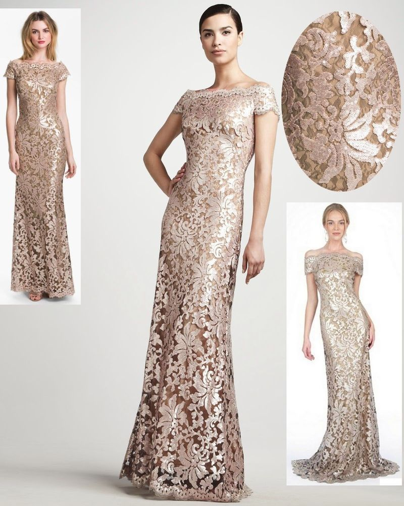 Tadashi Shoji Sequined Embroidered Lace Off Shoulder Ginseng Dress Gown New 10