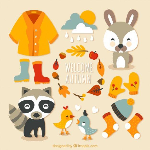 Elementos de bienvenido otoño