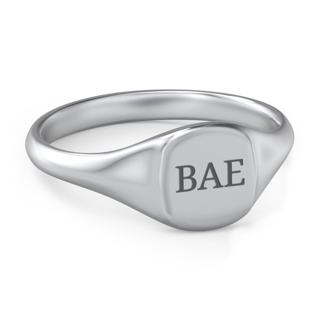 Women's Engravable Initial Square Signet Ring
