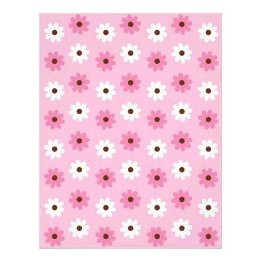 flower pink white baby scrapbook paper letterhead template