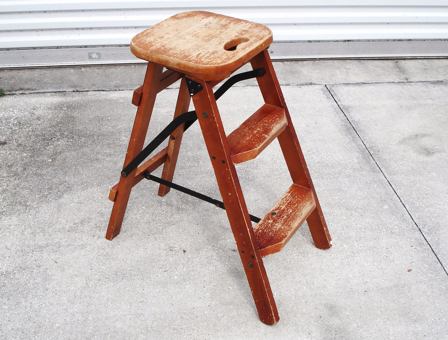 Vintage Wood 3 Steps Household Folding Ladder Stepstool. Ladder ChairStool  ChairKitchen ...