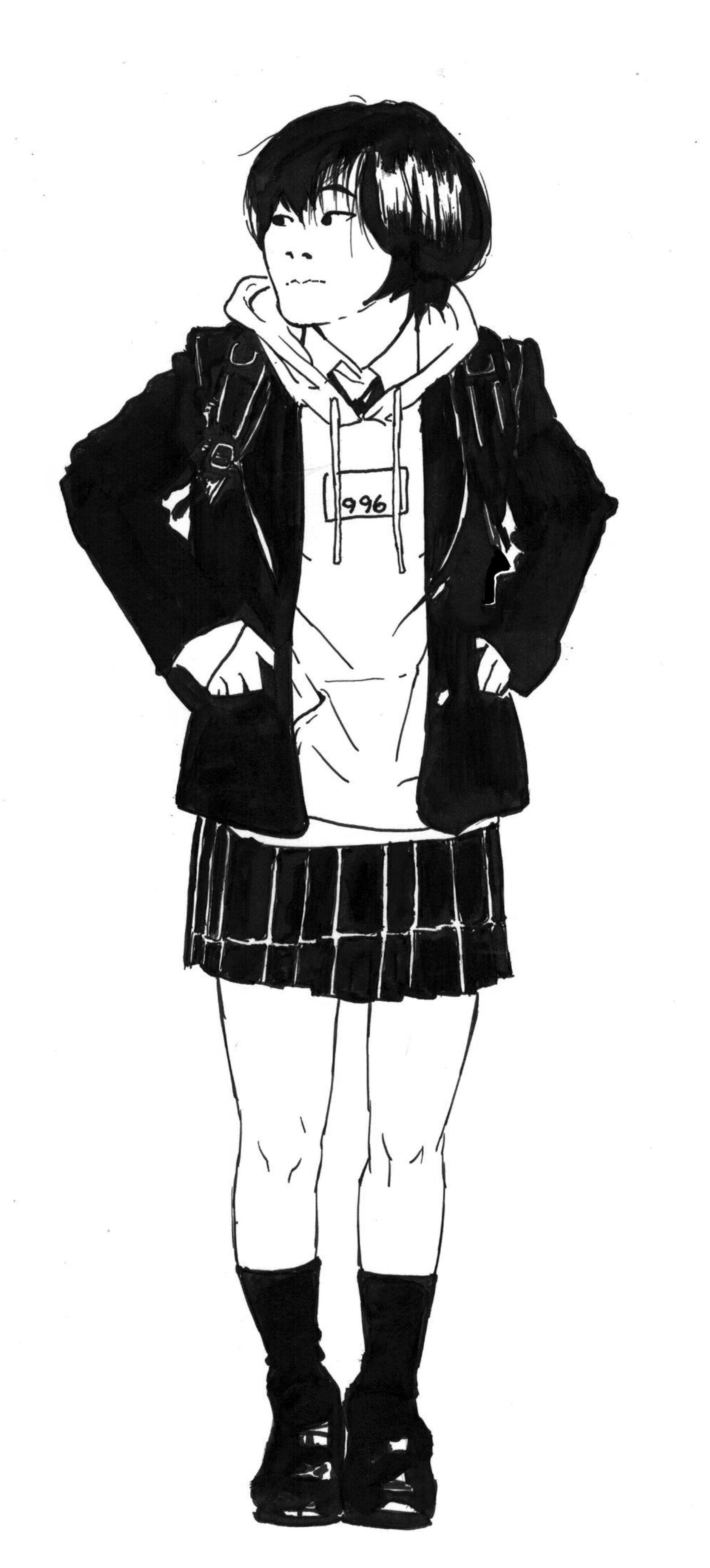 Japanese girl hoodie full body drawing Body drawing