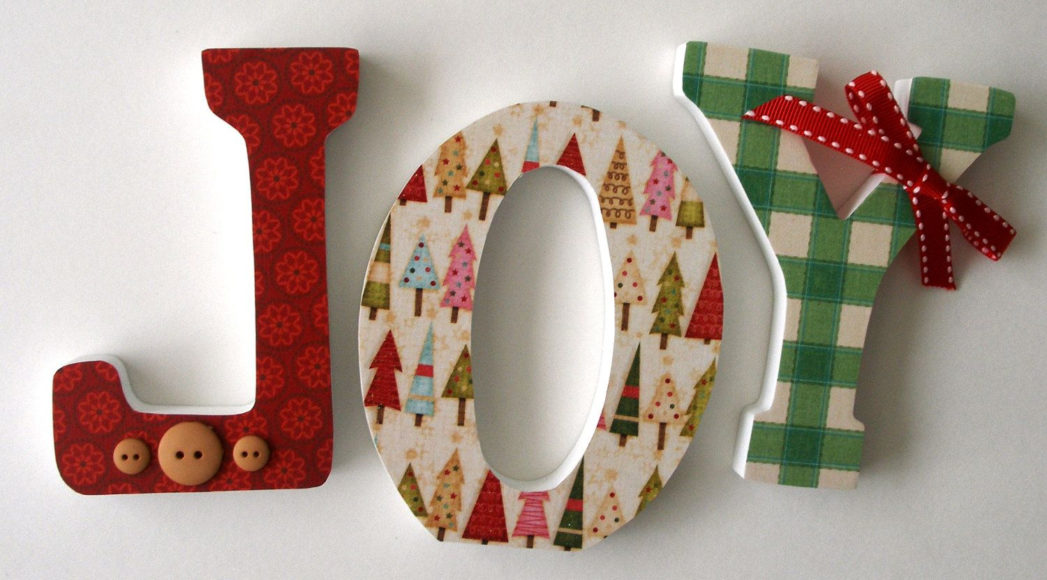 Custom Decorated Wooden Letters Classic Christmas Christmas Decor