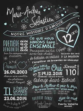 Affiche Personnalisée Mariage Notre Histoire Damour
