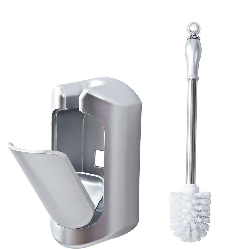 Compact Toilet Brush Set Wall Mounted With Stainless Steel Handle Silver Mirun Wall Mounted Toilet Toilet Brush Steel Handle