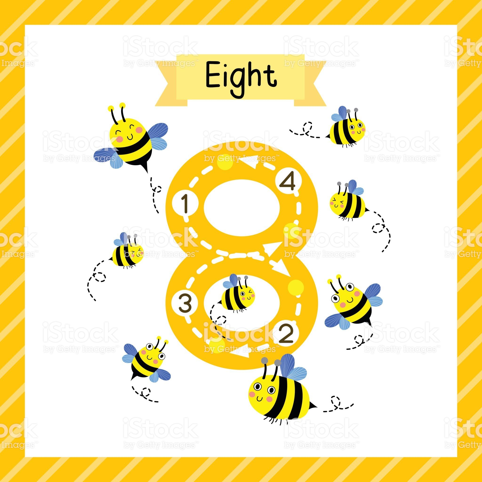Cute Children Flashcard Number Eight Tracing With 8 Bees