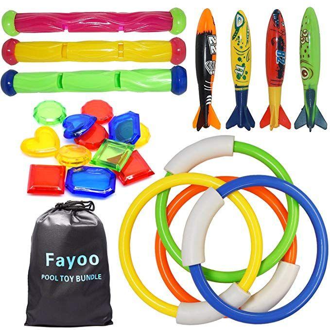 Fayoo 23 Pack Underwater Swimming/Diving Pool Toy Rings(4 Pcs