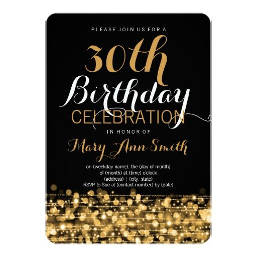 Elegant 30th birthday party sparkles gold invitation woman elegant 30th birthday party sparkles gold 5x7 paper invitation card stopboris Image collections