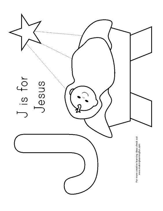 J is for Jesus Coloring page crafts Pinterest Sunday school - new christmas abc coloring pages