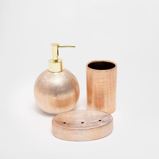Zdjecie Produktu Ceramiczne Akcesoria Lazienkowe W Prazki W Miedzianym Kolorze Bathroom Sets Bath Accessories Set Mint Bathroom