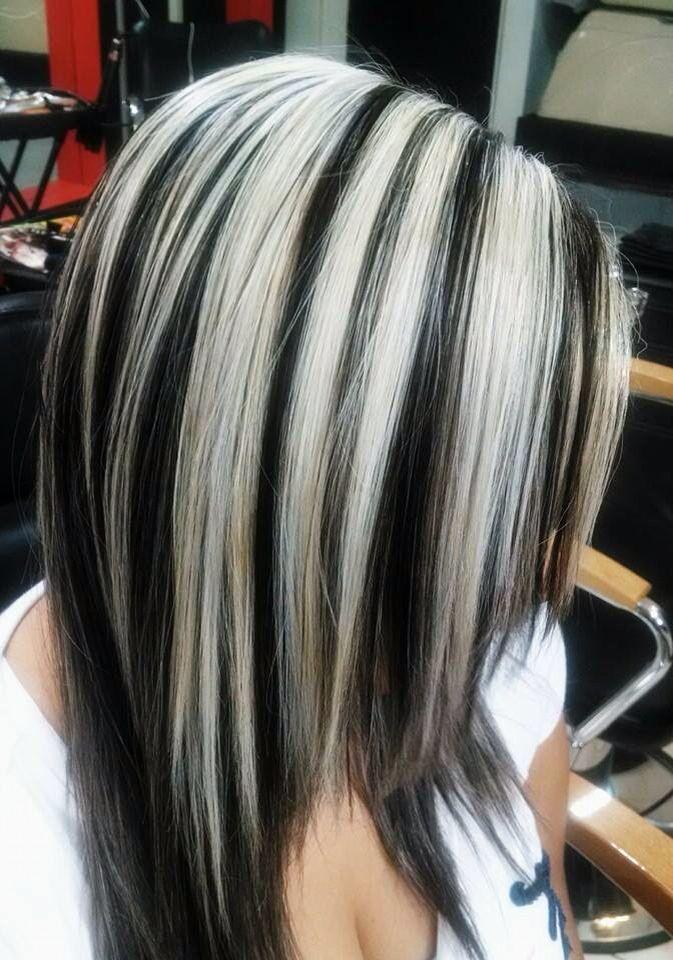 Noir Et Blonde Hair Highlights Hair Streaks Hair Color Highlights