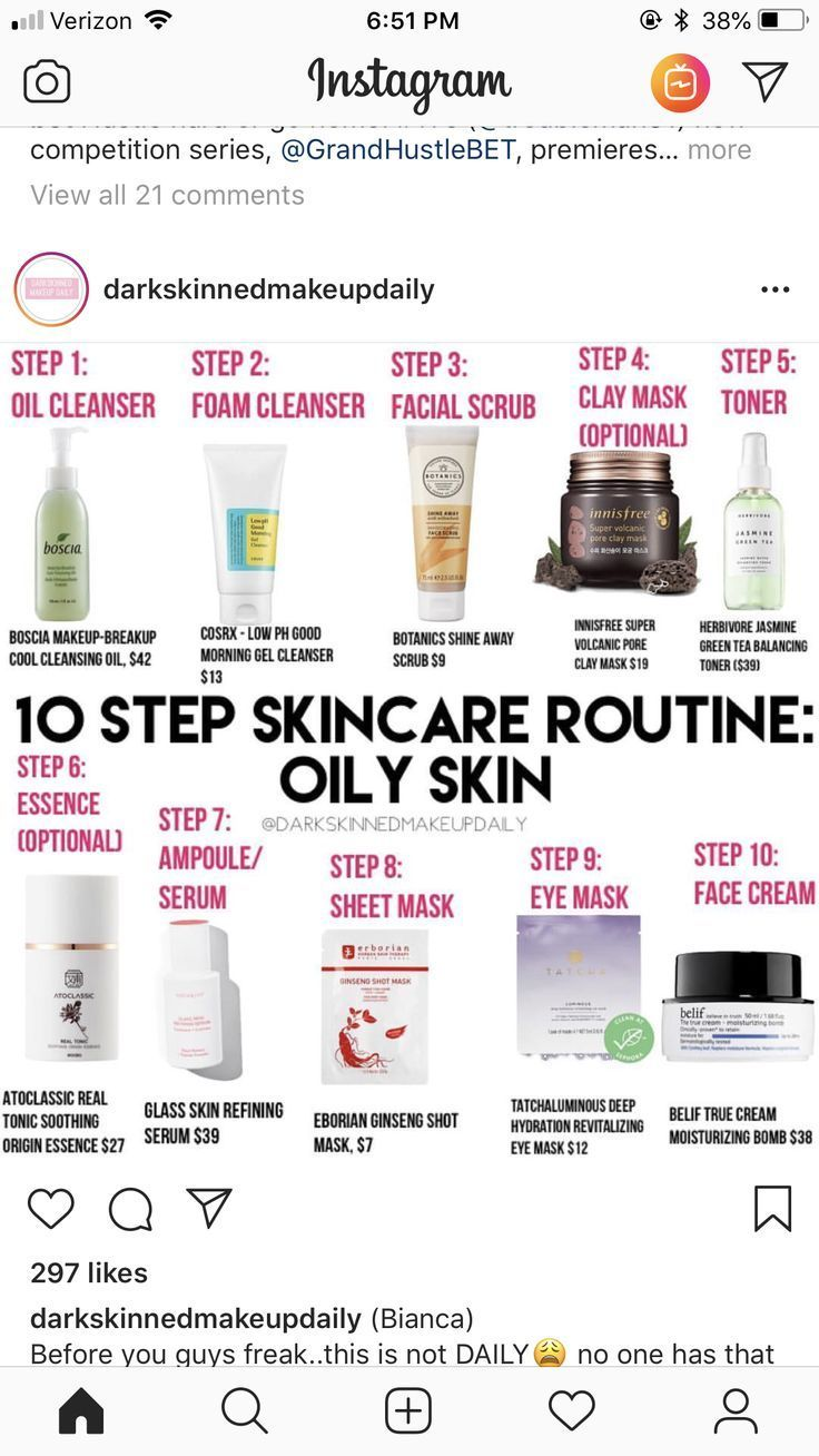 Routine for oily skin