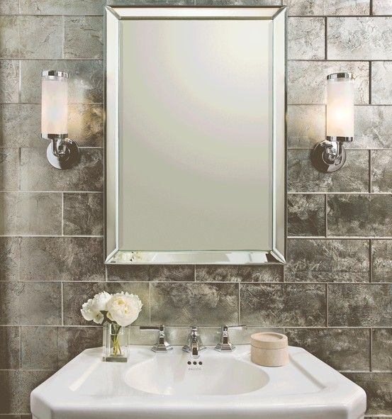 Ann Sacks Lucian Metallics 6 X 12 Gl Field In Pewter With Kallista For Town By Michael S Smith Mirror Pedestal Basin Set And Lever Handles