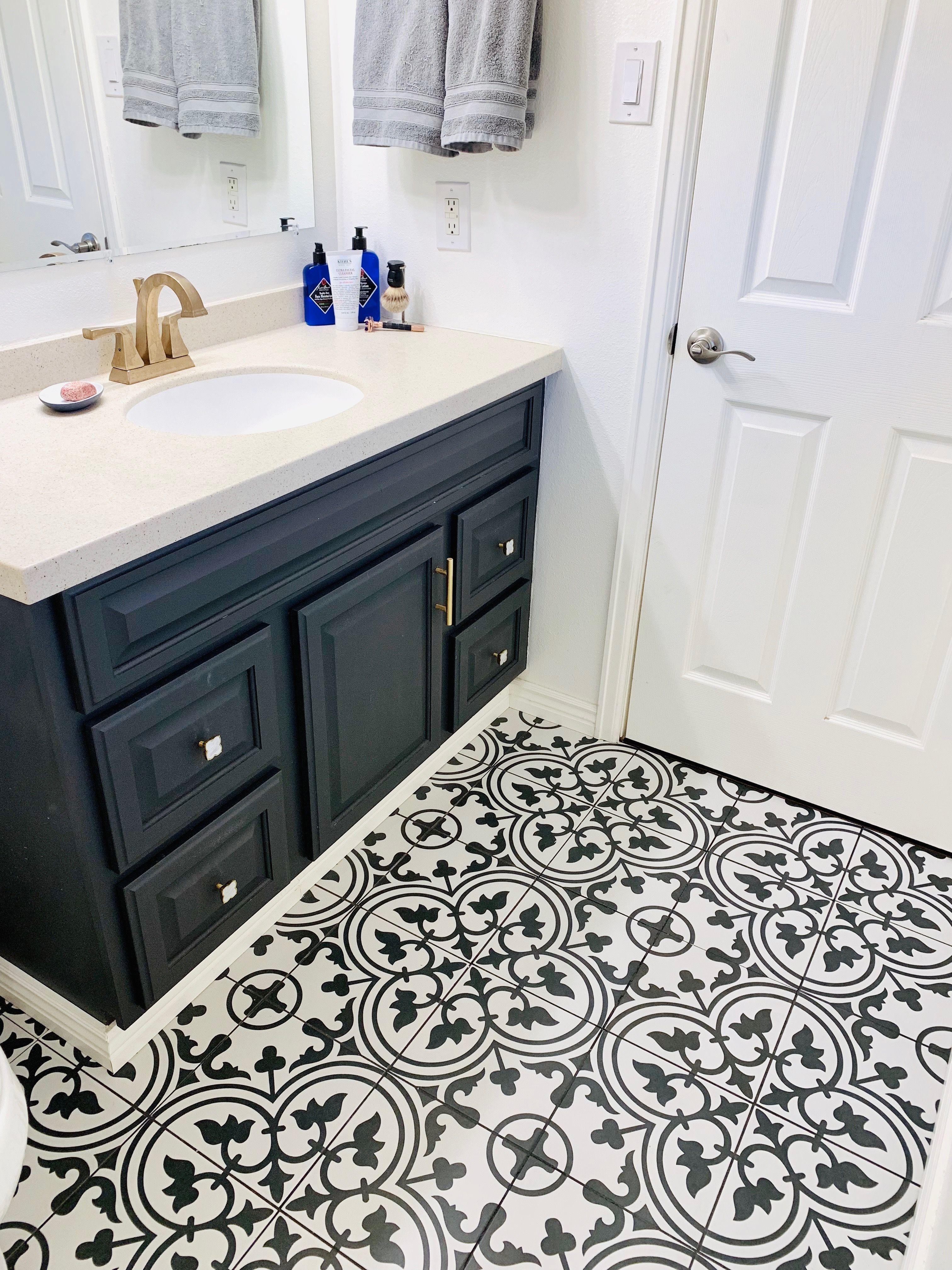 Black Bathroom Taps Blackhexagontilebathroom Bathroom Tile Renovation Painted Vanity Bathroom Tile Bathroom Black and white bathroom floor tile