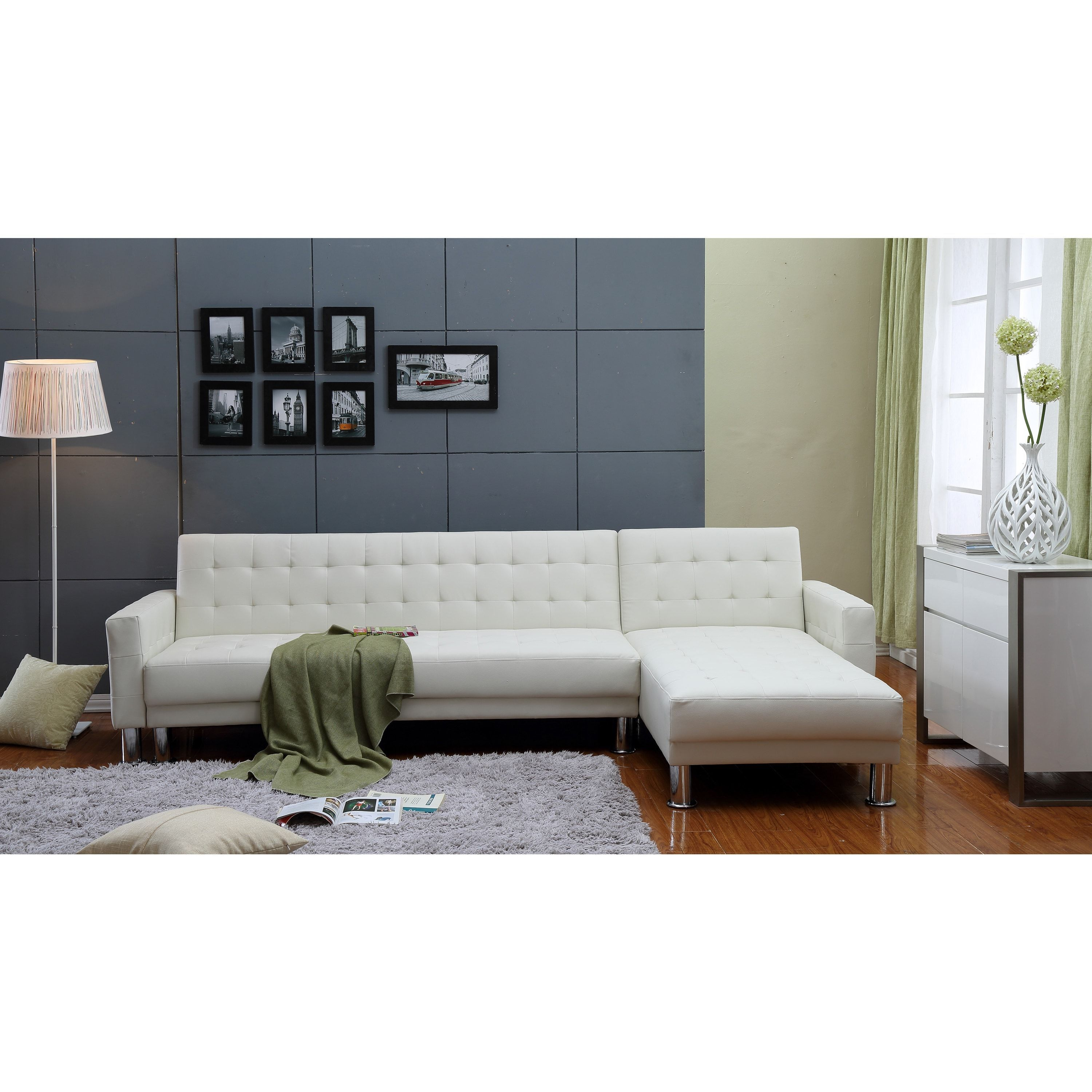 Tufted Leather Sofa Bed: 2-piece White Tufted Bi-cast Leather Sectional Sofa Bed