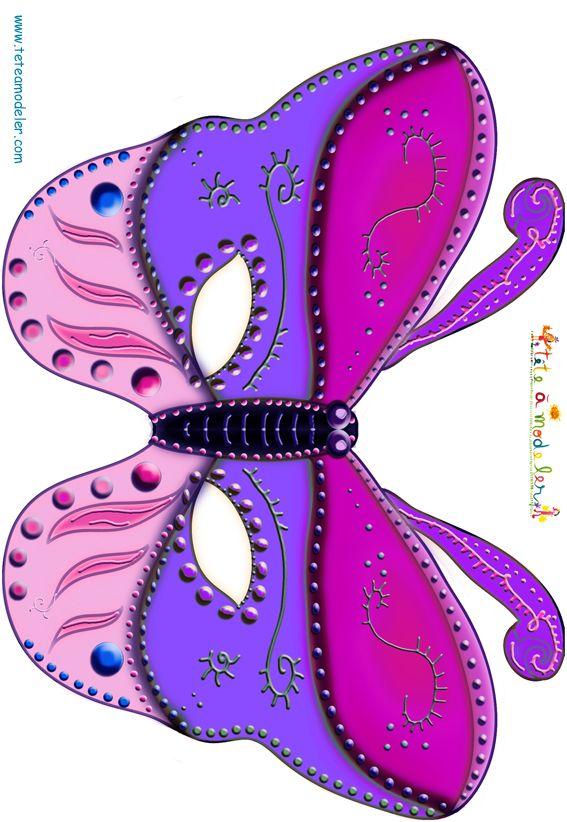 paper toy masque papillon en rose et violet tête à modeler
