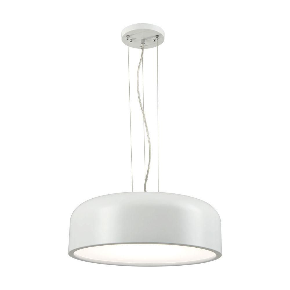 Titan Lighting Kore 1-Light White with Acrylic Diffuser LED Pendant