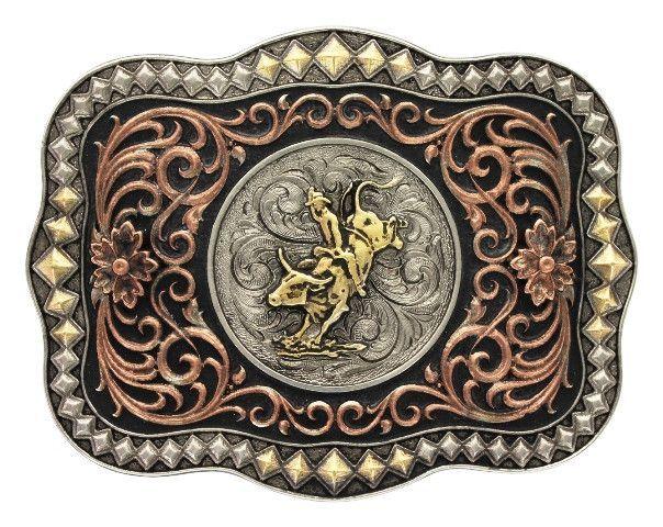 MSA477T) Tri Color Diamond Trim Scalloped Bull Rider Belt