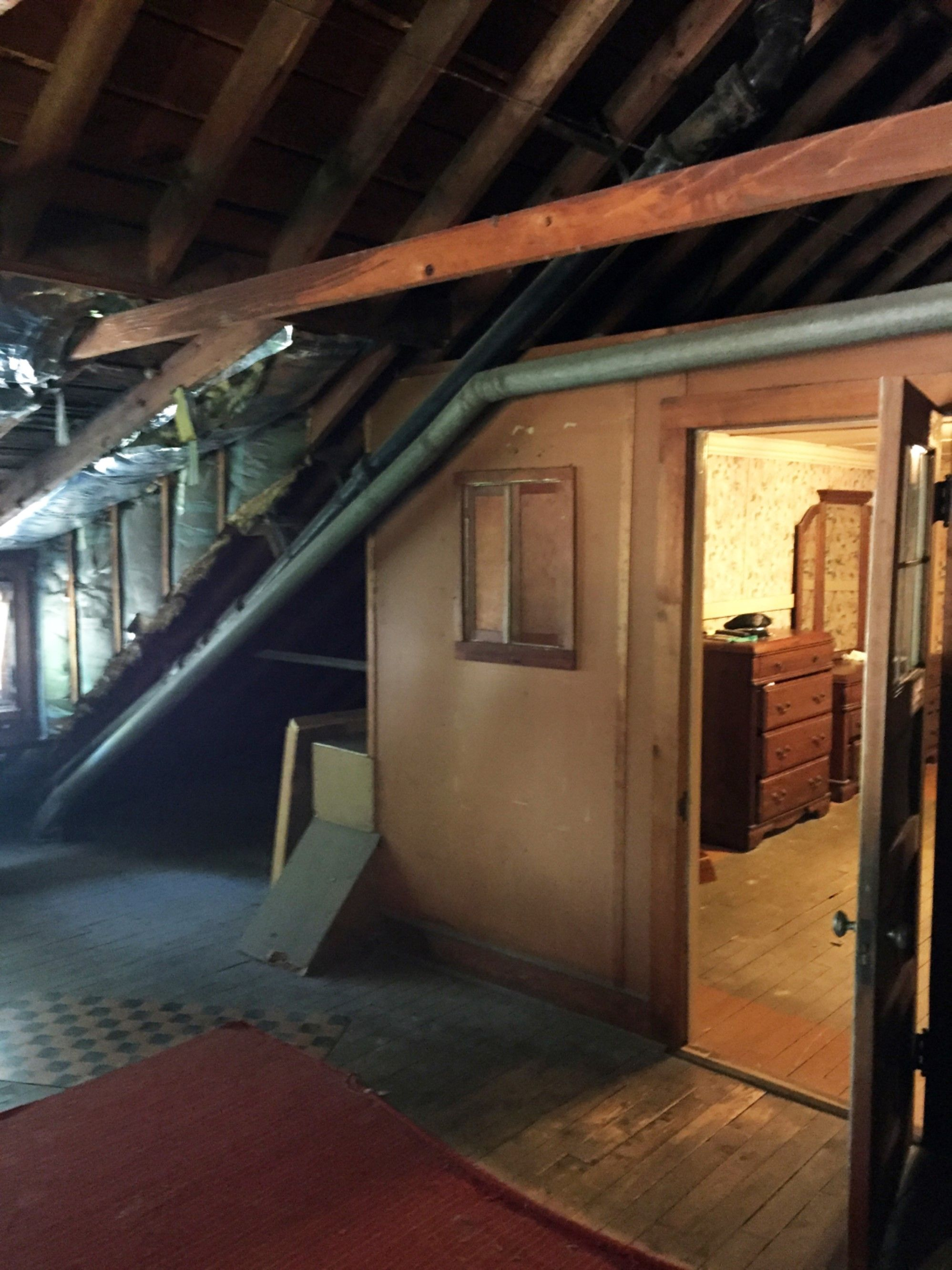 A View Of The Existing Maid S Quarters And First Floor Bathroom Venting Attic Conversion Flooring Maid