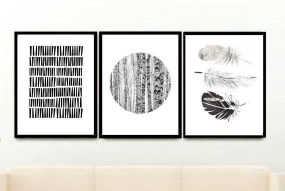Schwarz / Weiß, Set Von 3 Druckt, Triptychon, Minimalist Poster,  Skandinavische Kunst, Giclee Drucke, Wanddekoration, Home Decor, Wand Dekor  Art Giclee ...