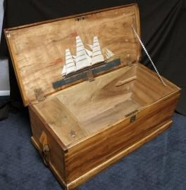 American Sea Box With Ship Painting Camphor Wood