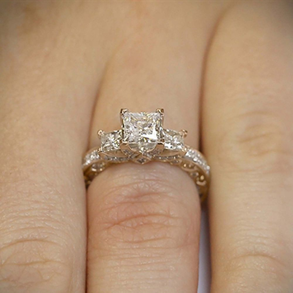 2 CT Diamond Cushion Cut 10K Solid Rose Gold Vintage Engagement Ring For Women/'s