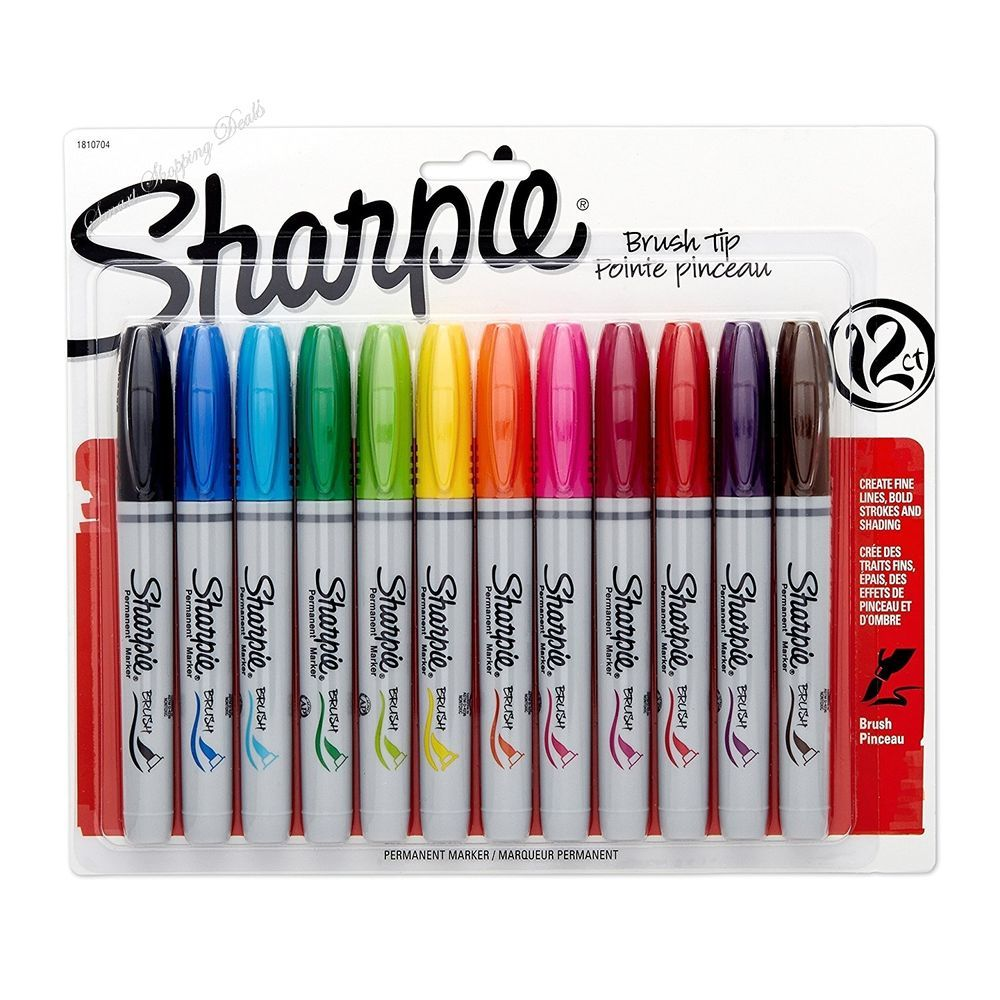 12 Pack Sharpie Permanent Markers Brush Tip Assorted Colors Art Supplies Paint  #Sharpie