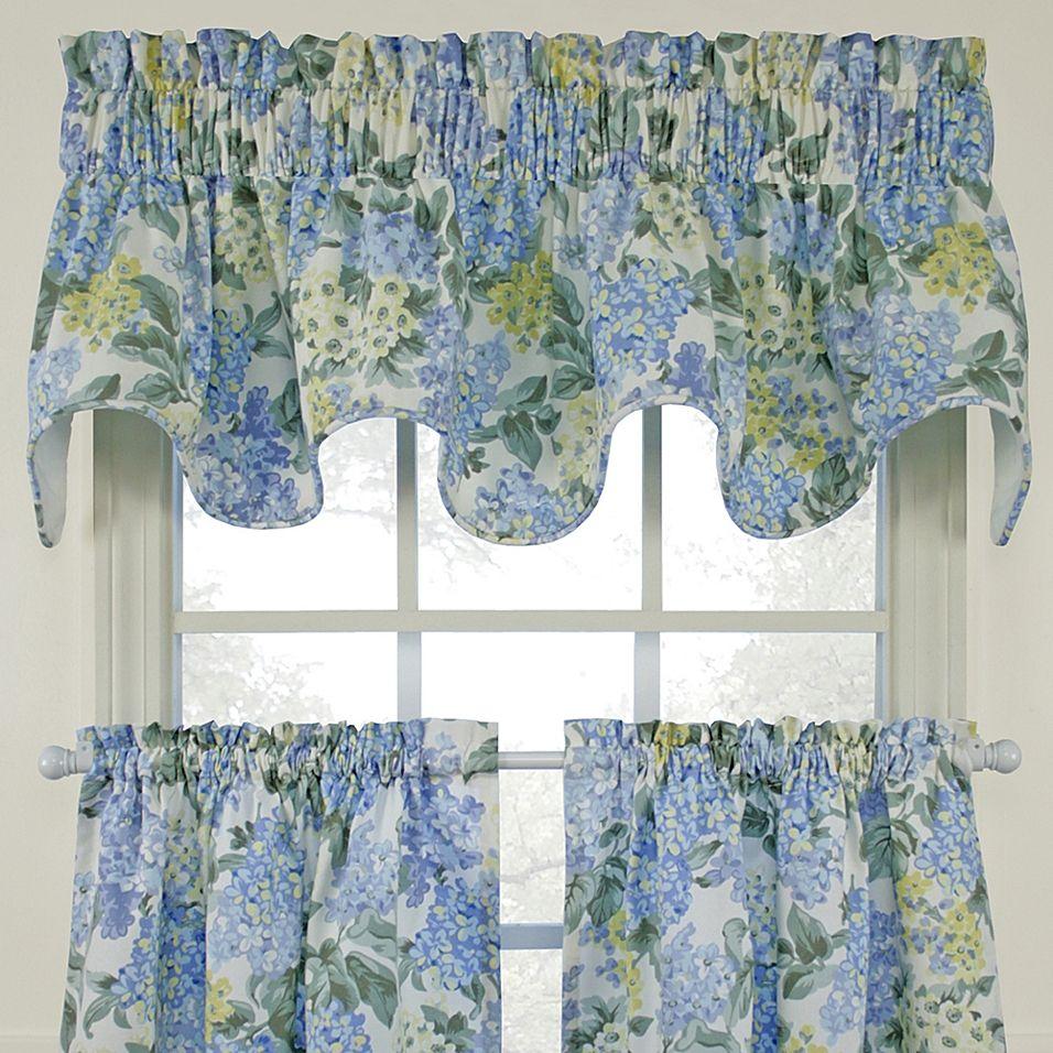 Hydrangea Blue Scallop Valance Bed Bath Beyond In 2021 Blue Window Curtains Green Kitchen Curtains Kitchen Curtain Designs