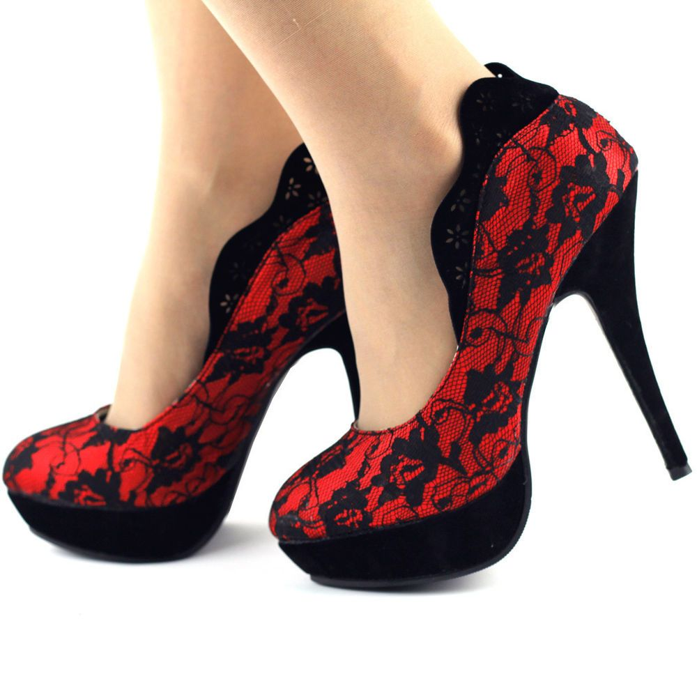 Show Story Lace Pump Heel - Women's Size 9.5 Red & Black