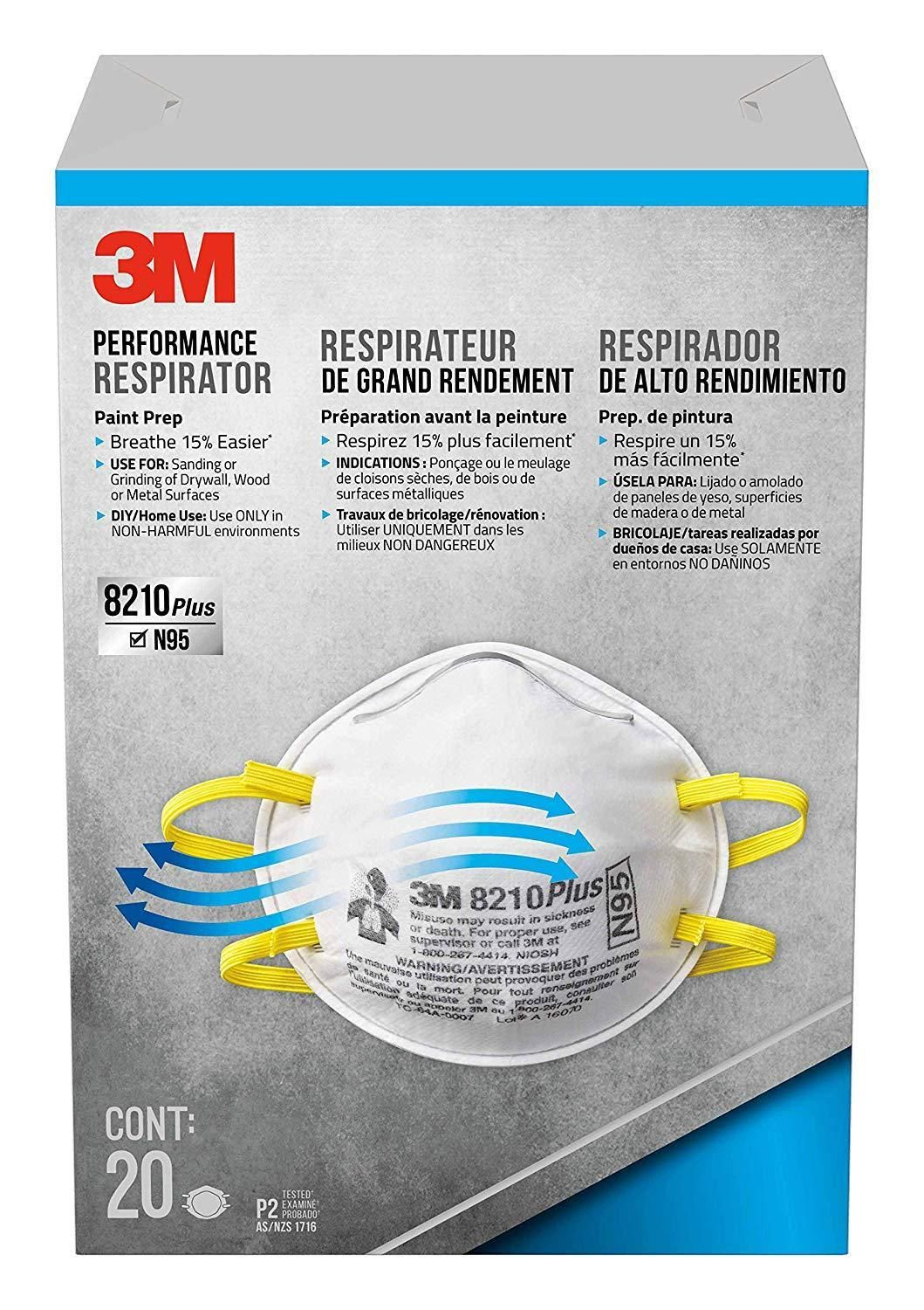 3M 8210PPB1ANA Plus N95 Particulate Respirator 20pk 12