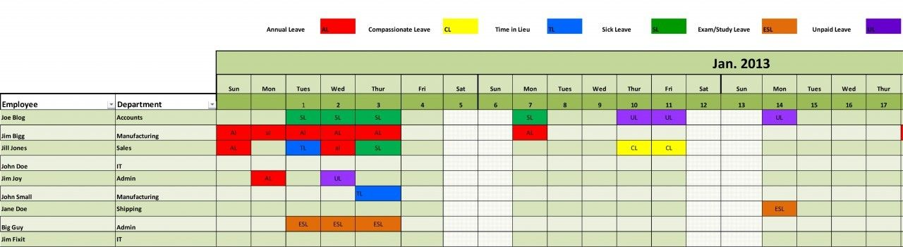 Staff Leave Planning Scheduling Management Excel Template - Store schedule template