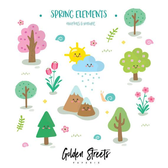 80% OFF!! Spring Clipart - Nature Clipart- Adorable Clipart ...