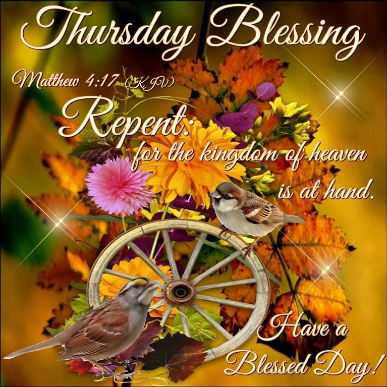 Thursday Blessing. Matthew 4:17- Have a Blessed Day! | Good night blessings,  Blessed, Good morning happy thursday