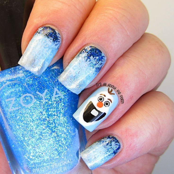 2014 Halloween glitter Olaf from Frozen nail design - Disney, nail ...