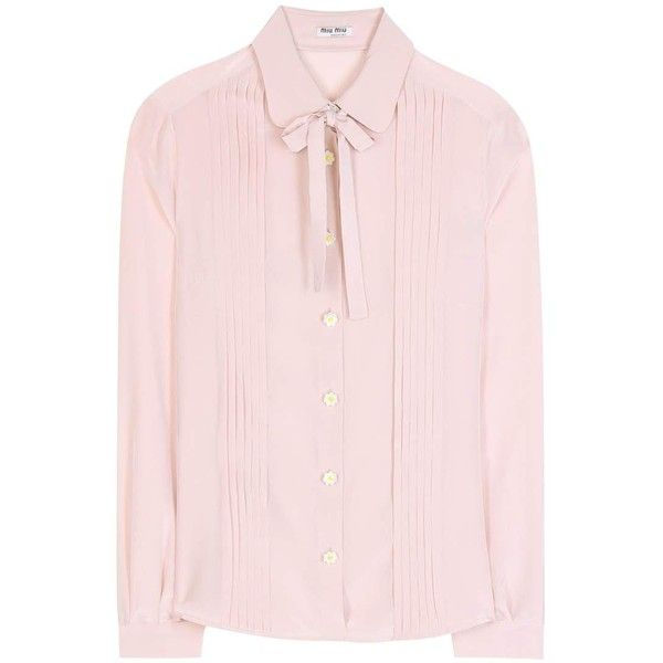 45fa86250d1 Miu Miu Silk Shirt ( 405) ❤ liked on Polyvore featuring tops ...