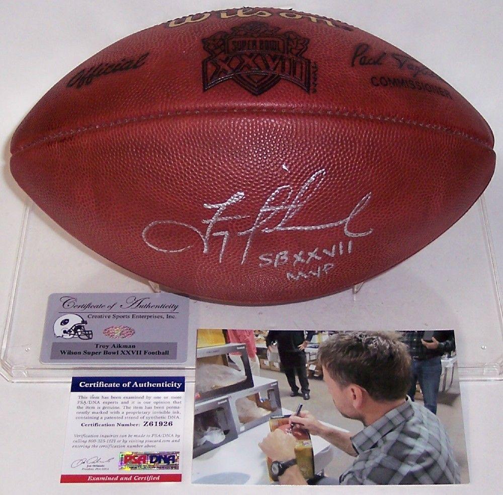 Troy Aikman Autographed Hand Signed Super Bowl XXVII Official NFL Football  - PSA DNA. e77764666