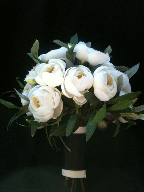 White Garden Rose Bouquet ranunculus & olive branches bridal bouquet reserved for chelsea