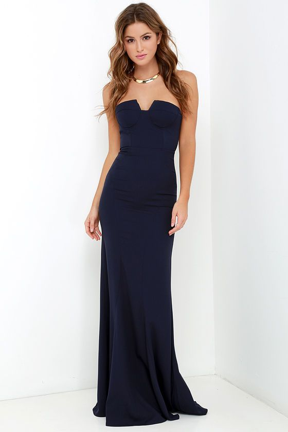 c84be0a59bd3 Ladylove Navy Blue Strapless Maxi Dress | Vamos Peru | Dresses ...