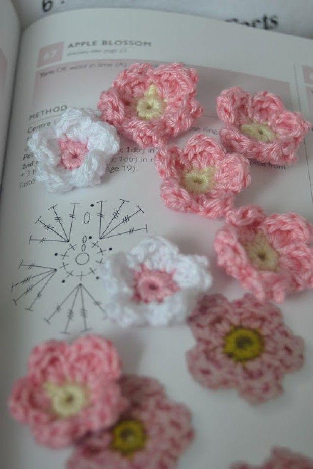 Schattige bloemetjes met patroontekening flores - Mantas de ganchillo faciles ...