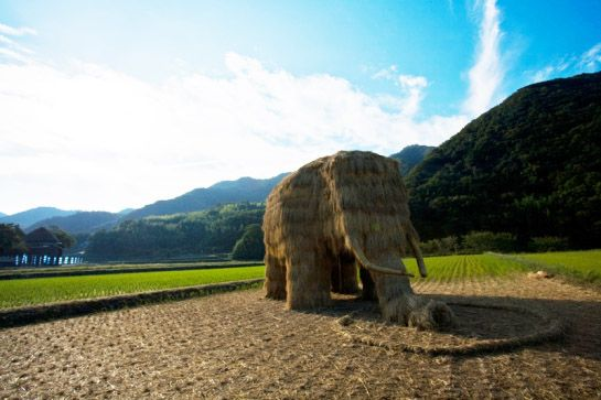 Last year as part of the Triennial Setouchi Art Festival on the Japanese island of Shodashima, students from Musashino Art University constructed this awesome straw mammoth using rice straw donated by local farmers. Photos by Michelle Kuen Suet Fung.