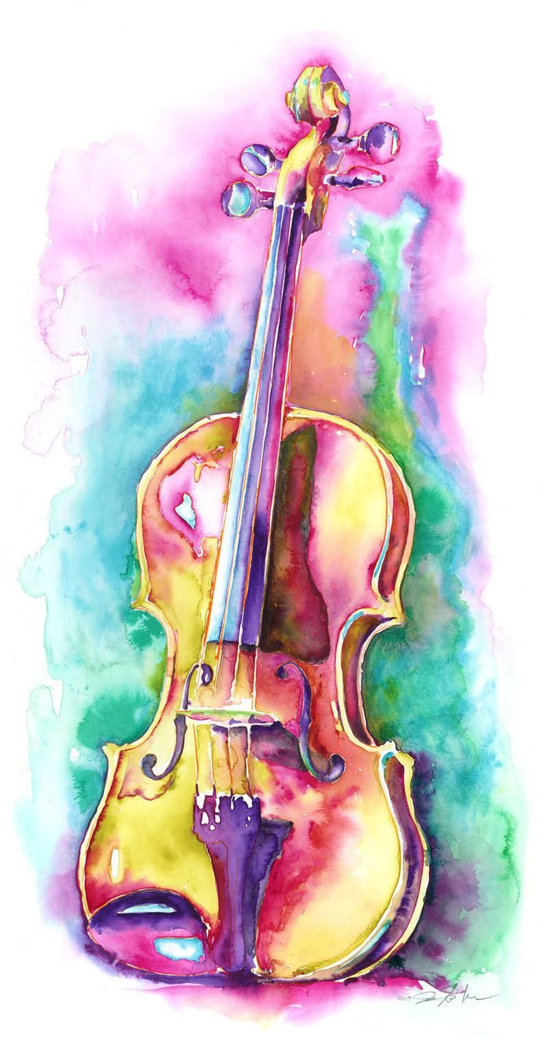 Viola in Sunlight – large painting of a Viola – orchestra watercolor by Jamie Hansen