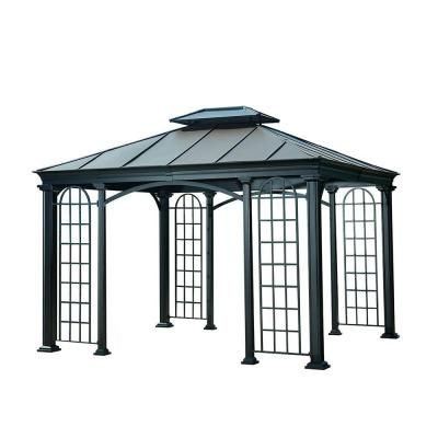 Sunjoy 12 Ft X 10 Ft Summerville Gazebo In Black Top 110102048 The Home Depot Gazebo Curved Pergola Outdoor