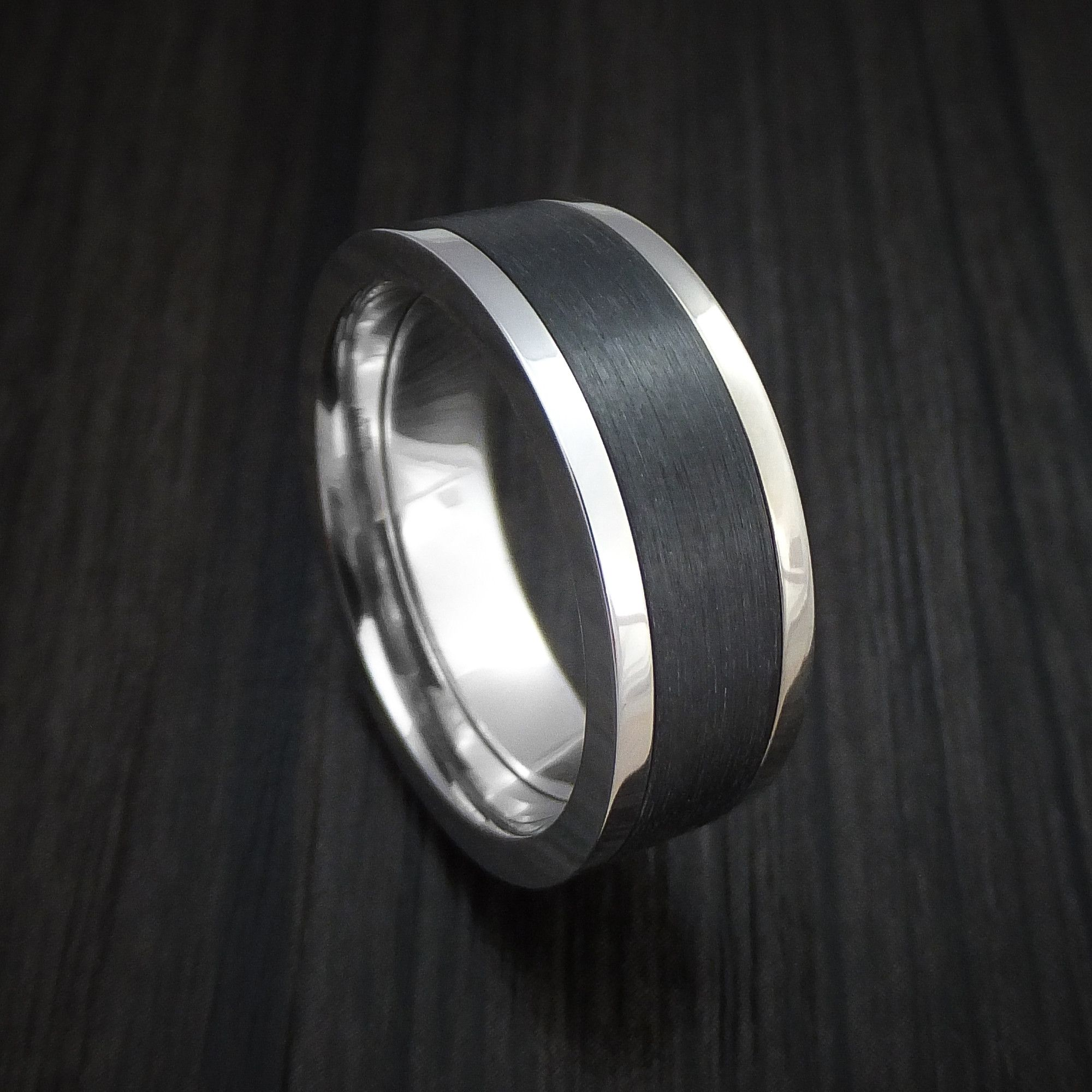14K White Gold and Elysium Black Diamond Ring Custom Made Band