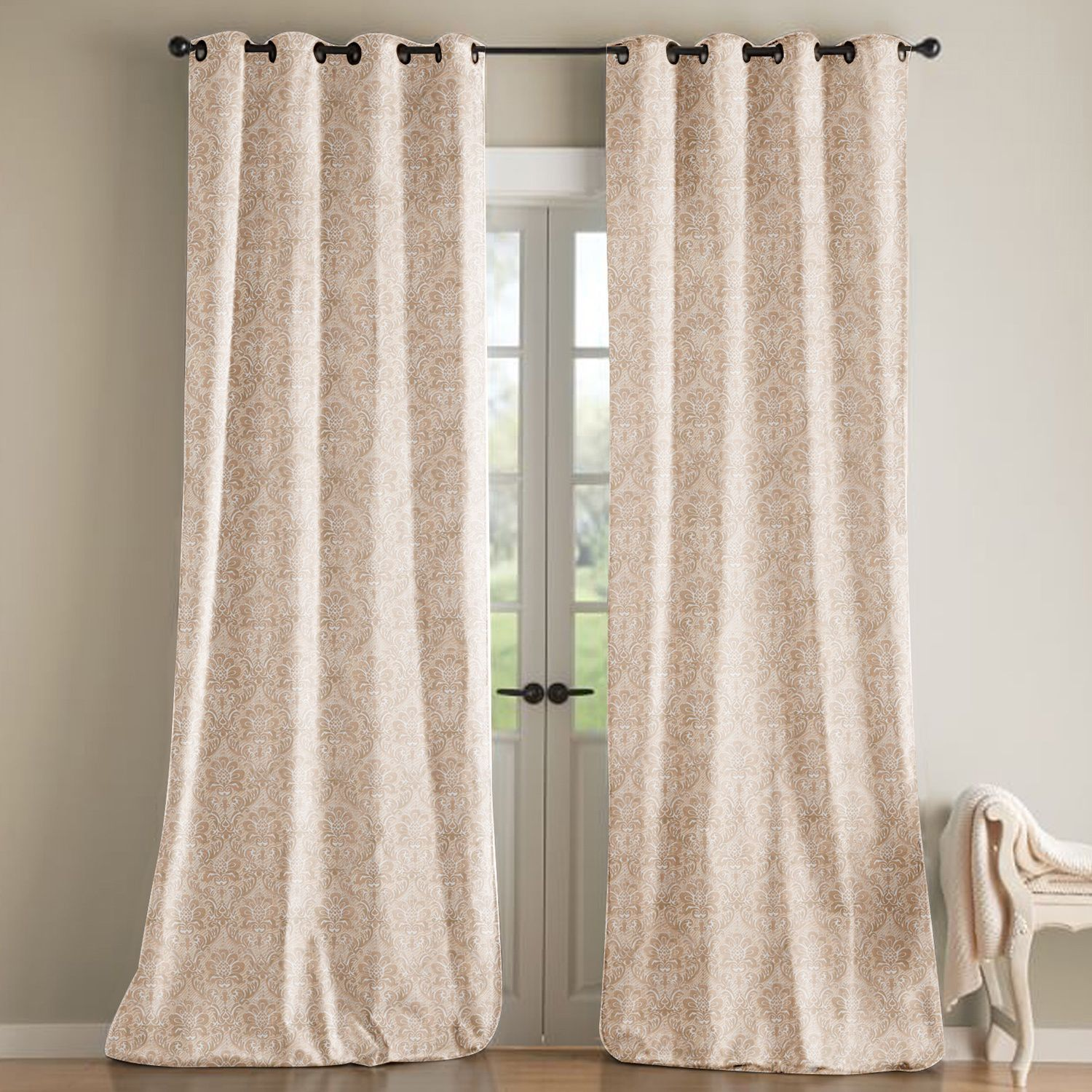 modern silk faux lined damask curtain floral asp ringtop p cream colour eyelet curtains beige