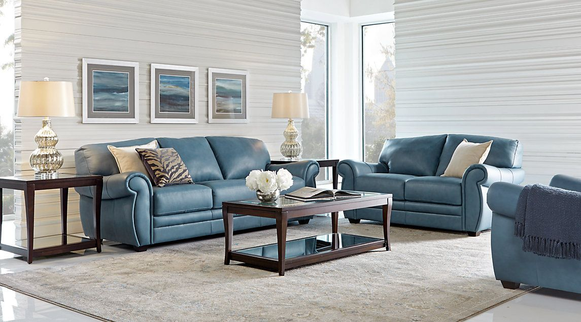 Best Martello Blue Leather 5 Pc Living Room Living Room 400 x 300