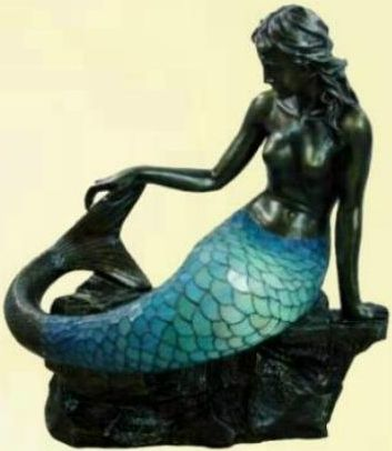Large Art Deco Bronze Mermaid Tiffany Floor Standing Lamp Light Body Lights Up Mermaid