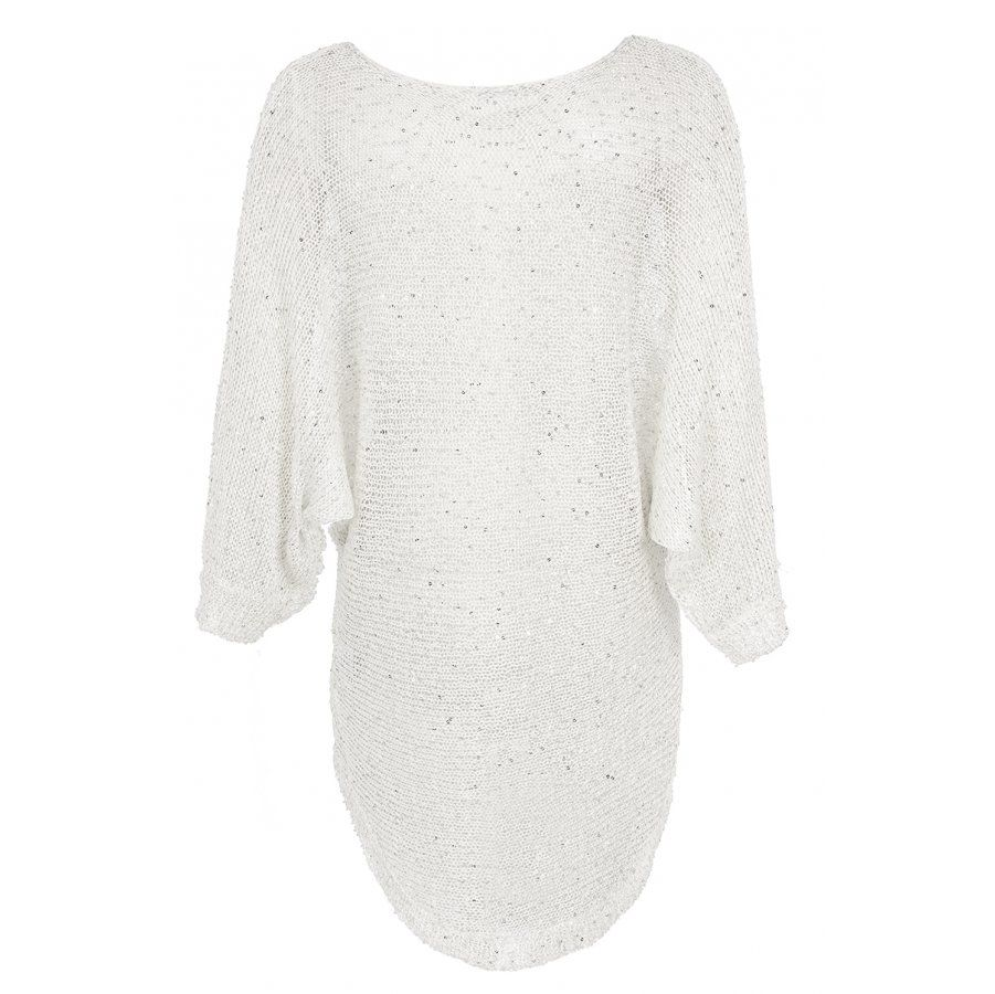 Cream u silver knitted sequin sleeve top quiz clothing