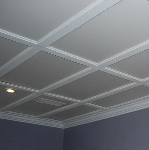 Dropped ceiling imitating a coffered ceiling... #diybasementideas