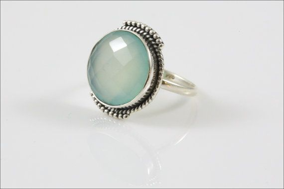 Chalcedony Aqua Ring round  large Chalcendony Aqua by AristaBeads